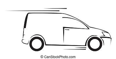 auto, symbool, vector, bestelbus, illustratie