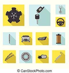 auto, symbool, voorwerp, web., vrijstaand, verzameling,...