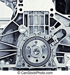auto, tandwiel, motor