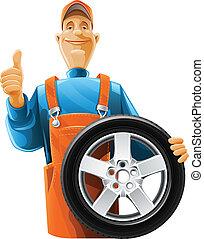 auto technicus, met, wiel