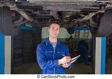 auto technicus, onder, het bereiden, controlelijst