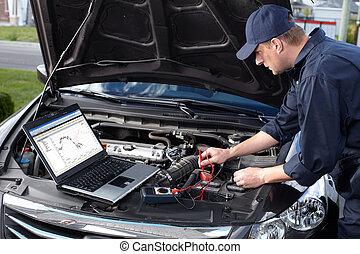 auto technicus, werkende , in, auto verstelen, service.