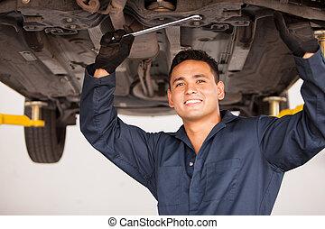 auto technicus, werkende , vrolijke