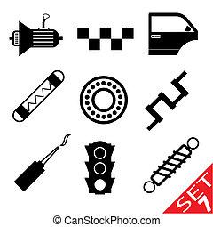 auto- teil, satz, 7, ikone