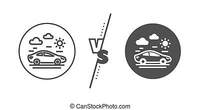 auto, teken., uitstapjes, vector, icon., lijn, reizen, vervoeren