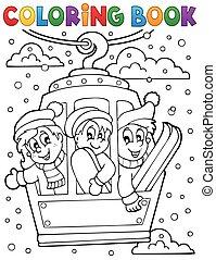 auto, thema, kleurend boek, kabel
