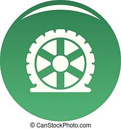 Auto tire icon vector green