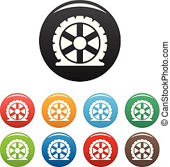 Auto tire icons set color vector