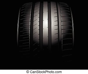 Auto tire - Vector illustration of a new auto tire on black