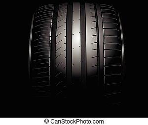 Auto tire - Vector illustration of a new auto tire on black