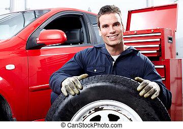 auto, tire., werktuigkundige, het veranderen