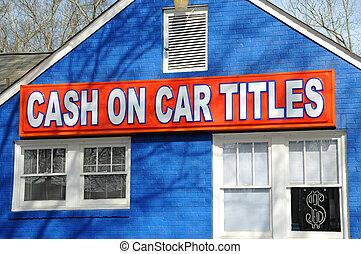 auto, titel, bargeld