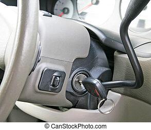 auto toetst, in, ontsteking