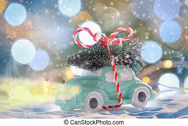 auto, tragen, spielzeug, baum, weihnachten