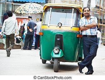 auto, treiber, indische , rickshaw, tut-tuk, mann