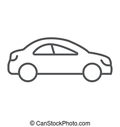 Auto trip thin line icon, automobile and tourism, car sign, vector graphics, a linear pattern on a white background.