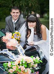auto, trouwfeest, bruidegom, bruid