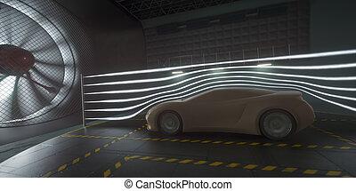 auto, tunnel, prototyp, sport, begriff, aerodynamisch