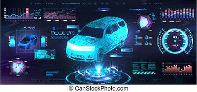 auto, ui, interface, hud, polygonal, hologramme