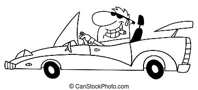 auto, umwandelbar, reich, fahren, mann