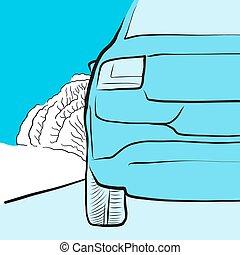 Auto und Reifen auf glatter Straße, Illustration