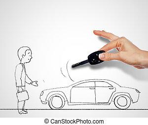 auto, und, schlüssel, und, mann stehen, bei