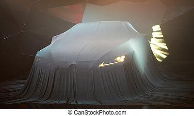 auto, unter, auf, cover., neu , schließen, versteckt