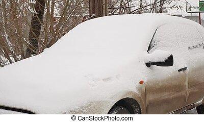 auto, unter, schnee, in, der, winter, schlechtes wetter