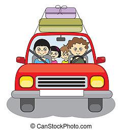 auto, vakantie, gaat, gezin