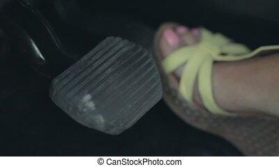 auto, van een vrouw, dringend, rem, voet pedaal
