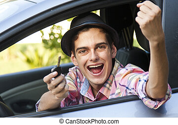 auto, vasthouden, klee, man