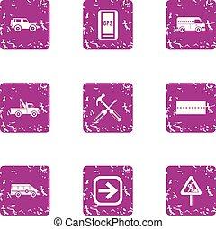 auto, vaststellen, iconen, set, grunge, stijl