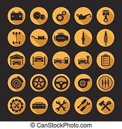 auto, vecteur, réparation, icônes
