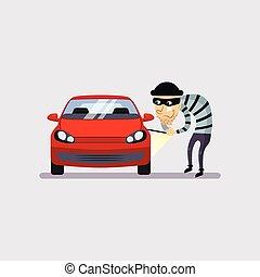 auto, vector, diefstal, illustratie, verzekering
