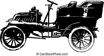 auto, vector, oud, tijdopnemer, illustratie