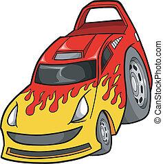 auto, vector, straat, hardloop, illustratie