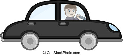 auto, vektor, karikatur, fahren, mann