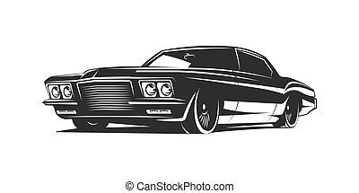 auto, vektor, plakat, muskel