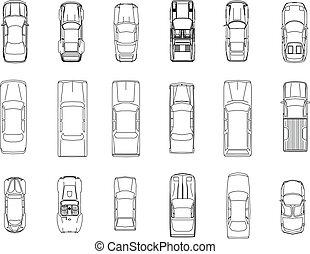 auto, vektor, plan