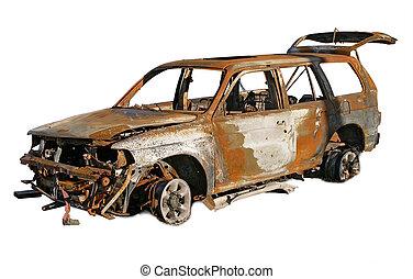 auto, verbrand buiten