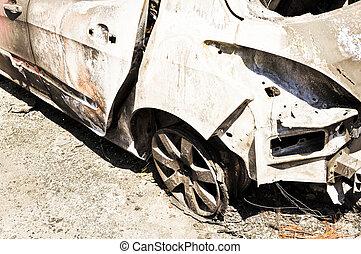 auto, verbrannt