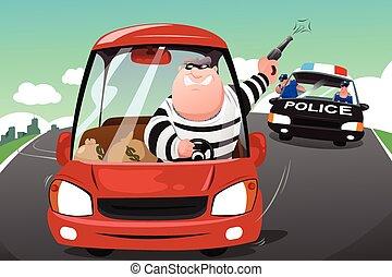 auto, verbrecher, jagen, landstraße, polizei