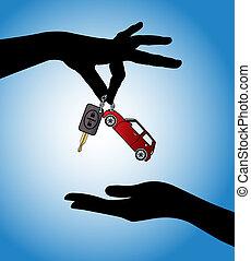 auto, -, verkauf, schlüssel, tauschen