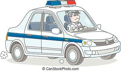 auto verkeer, politie, politieagent