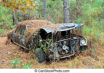 auto, verlassen, schrott