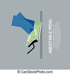 auto, verstelbaar, pedaal, concept, symbool, vector, illustratie