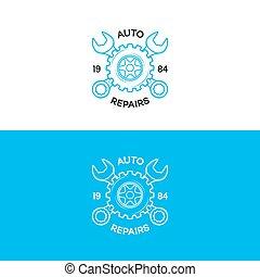 auto, verstelt, logo, set, met, tandwiel, en, moersleutel, lijn, stijl, voor, auto dienst, winkel, auto, vaststellen