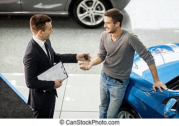 auto, vervaardiging, hoek, dealership, jonge, aanzicht, hoog, delen, deal., verkoper, goed, klant