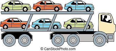 auto, vervoerder, vrachtwagen