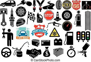 auto, verzameling, iconen